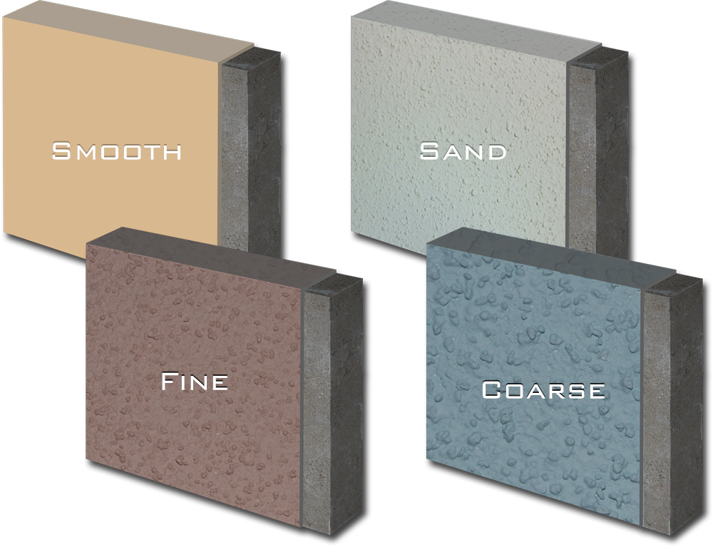 Photo showing our coating finishes -- smooth, fine, sand and coarse